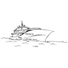 Sketch yacht, pleasure boat floating on the sea waves vector illustration, black and white hand-drawn vector drawing isolated on white background for your design