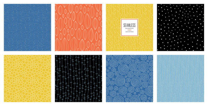 Basic RGB Set of abstract square backgrounds and sketch dots textures. Vector illustration.