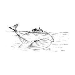 Whale sketch, sketch of a fairy whale in the sea, whale drawing with a fictional city on the back, cartoon whale, black and white hand-drawn vector illustration isolated on white background
