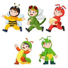 collection of children wearing cute insect animal costumes