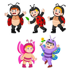 collection children wearing butterfly and ladybug costumes