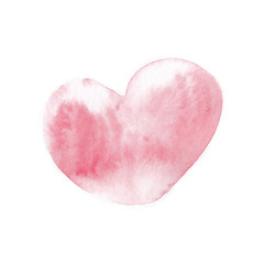 Pink watercolor heart, hand drawn, isolated on white background