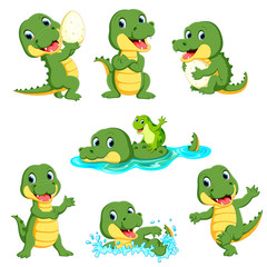 collection of cute alligator character cartoon