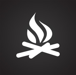 Campfire icon on black background for graphic and web design, Modern simple vector sign. Internet concept. Trendy symbol for website design web button or mobile app