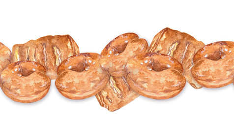 Seamless border, pastries, donuts and puff pastry