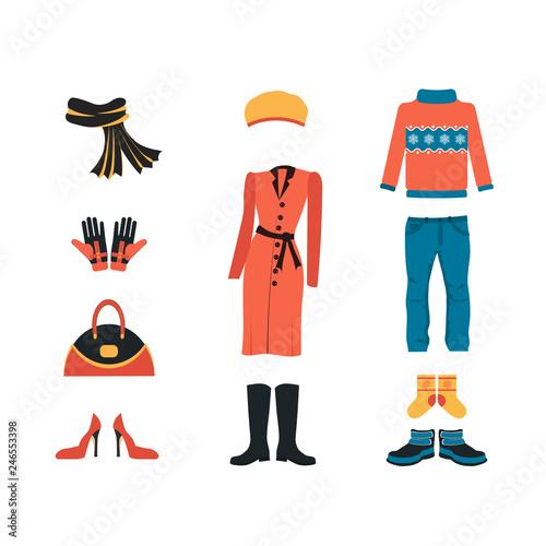 9af55bb62e85 Set of warm winter clothes design. Scarf