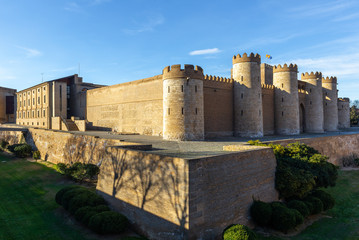 Aljaferia Palace, a fortified medieval Islamic palace in Zaragoza city, Aragon, Spain