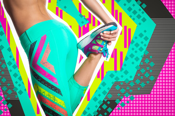 Young sporty woman fitness model in bright sports tights and sneakers stretching legs before run on a bright pop art geometric background in the music style.Sports concept on the topic Zine culture.