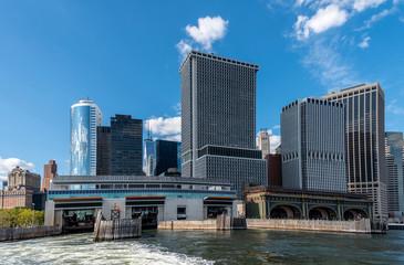 Downtown Manhattan with Staten island ferry terminal, New York, USA