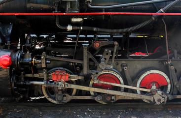 Wheels of old coal locomotive, Majdan Station, Bieszczady Mountains, Poland