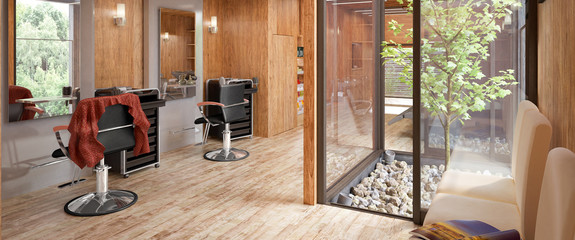 Hair Salon Designed in Wood (panoramic)