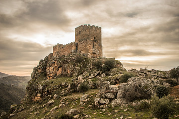 Medieval castle on a cliff on a cloudy day, Algoso, Vimioso, Miranda do Douro, Bragança, Tras-os-Montes, Portugal