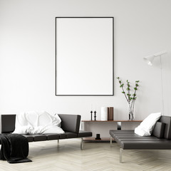 Mock up poster frame in home interior background, Modern style living room, 3D render