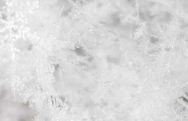 Printed roller blinds Macro photography White snowflakes on nature as a background