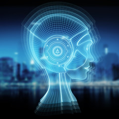 Wireframed robotic woman head representing artificial intelligence 3D rendering