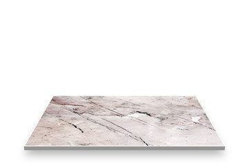 Top marble perspective isolated on white.