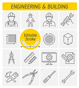 The engineering and building outline icon set. The repair, construction, industrial tools. The worker and engineer in a hard hat and helmet symbols. Thin linear vector icons with editable strokes.