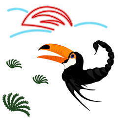 a non-existent bird with a tail of a scorpion and a fish fin