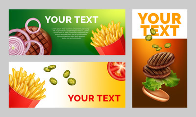Vector illustration of three advertising sheets with a picture of French fries and burgers with space for your text