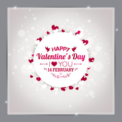 Happy Valentines Day greeting card. I Love You. 14 February. Holiday background with hearts, light, stars. Vector Illustration