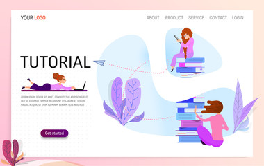 Vector concept for online education. Flat 2D design. Online training courses, retraining, specialization, tutorials. Can be used for web design, banners, promotional materials