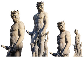 Statue of Neptune isolated on white - Roman God - Florence Italy
