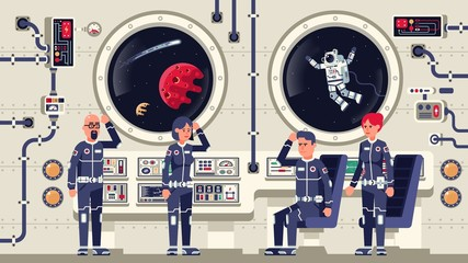 Astronauts are men and women aboard a spacecraft. The interior of the interstellar spaceship. Vector illustration