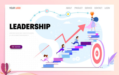 Leadership concept. Landing page template people follow the leader and reach the goal.
