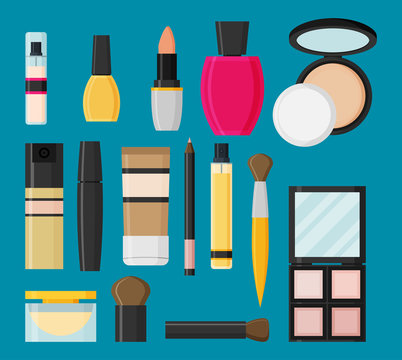 Vector flat design of make up tools and cosmetics