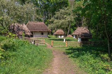 Ukrainian authentic village yard in forest. Lviv