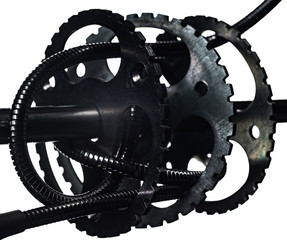 The mechanism of gears and axles in high wear on white background