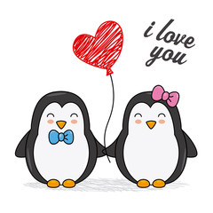 Cute penguins with a heart. Valentine card