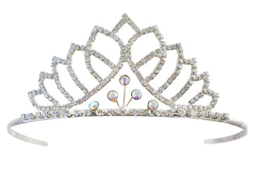 Tiara with white diamonds.  Crown for princess. Expensive jewelry. Decoration for queen, miss contest tiara isolated on white background. Full depth of field, with clipping path