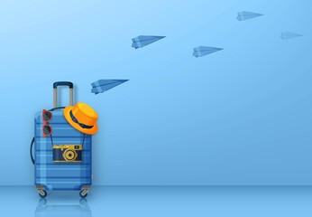 Travel concept with suitcase, sunglasses, hat and camera. Vector illustration