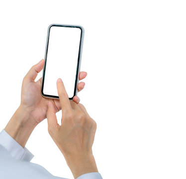 Woman's hand holding and using smartphone. Closeup hand touching smartphone with blank screen isolated on white background and copy space for text. Mobile phone with blank screen. Online marketing.
