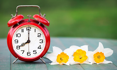 Spring forward, daylight savings concept