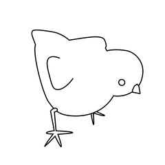 Black and white vector little easter chick