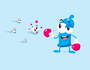 Funny condom mascot with boxing gloves protects against sperm. Flat design style isolated on light background.