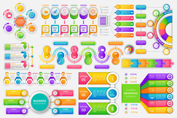 Infographics and infocharts financial strategy set of icons vector. Circles steps and options wallet with money finance idea schemes visualization info chart, graphic flat style