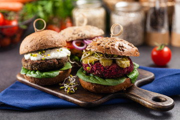 Vege burgers with carrots, beetroots and mushrooms.