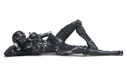 Science fiction cyborg female lies on her back and bends one knee. Cyborg girl lying in a seductive and attractive pose. Young Girl in a futuristic black armor suit. 3D rendering on white background. Wall mural
