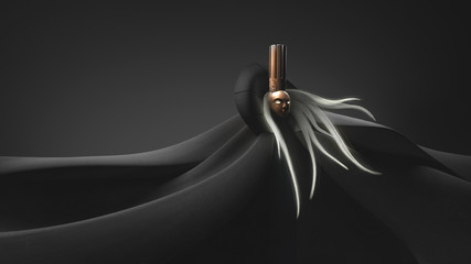 Woman with long gray hair in a golden mask. Smooth lines and waves of modern digital futuristic background. Queen in a golden crown on her head and in a black cloak. Ghost of the Queen. 3D rendering.