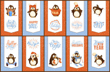 Merry Christmas holly jolly penguin animal bird with beak vector. Posters with text sample greeting with winter holiday and New Year, birdie with wings