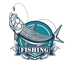 Tarpon fishing emblem. Black and white illustration of tarpon. Vector can be used for web design, cards, logos and other design