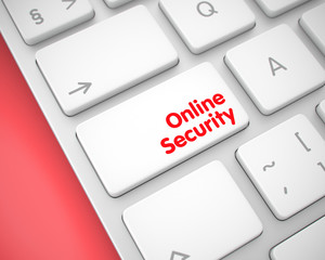 Online Security - Inscription on White Keyboard Keypad. 3D.