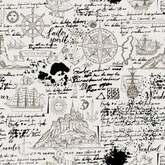 Vector abstract seamless background on the theme of travel, adventure and discovery. Old manuscript with islands, sailboats, wind rose and nautical symbols with blots and stains in vintage style