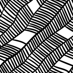 abstract black and white drawn doodle waves seamless pattern