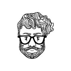 Portrait of handsome stylish casual man hipster with beard. Sketch doodle style illustration. Coloring page element
