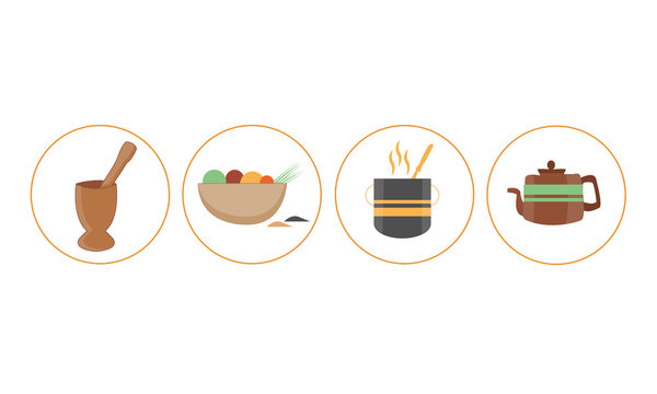 Illustration of African Cooking Flat Icons from Mortar and Pestle Calabash kettle - Images vectorielles