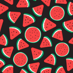 Watermelon Seamless pattern surface design. Vector illustration isolated on black